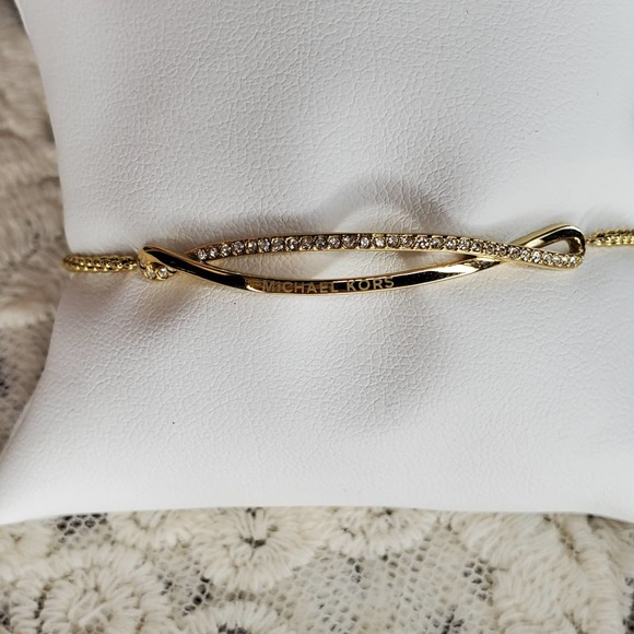 Michael Kors Pavé Gold-Tone Wave Slider Bracelet